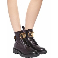 Valentino Trending Women's men Leather Side Zip Lace-up Ankle Boots Shoes High Boots 08024
