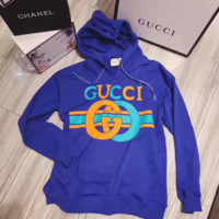 """Gucci"" Casual Fashion Letter Pattern Embroidery Long Sleeve Hooded Sweater Women Hoodie Tops"