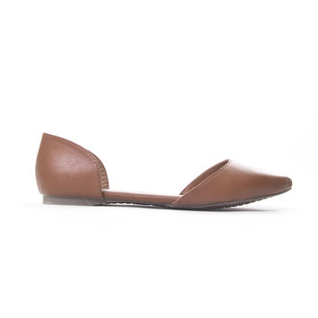 Tan Doll Point Toe Flats In Camel