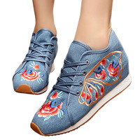 Prunus Triloba Sports Shoes Vintage Beijing Cloth Shoes Embroidered Shoes   blue  35