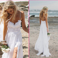 Wedding Dress for The Etherial Beach Bride. Romantic Beachy Lovely, Spaghetti Backless.