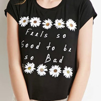Black Daisy And Letter Print Short Sleeve T-shirt