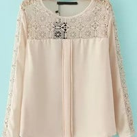 Apricot Long Sleeve Sheer Lace Detailed Blouse