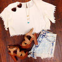 Happy Pom Pom Crop Top - White