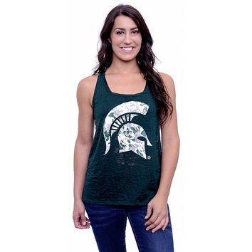 Michigan State Spartans Burnout Floral Tank Top - Women's (Green)