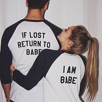 OMSJ New Women Men 2018 Long Sleeve Top If Lost Return To Babe/ I Am Babe Couple Clothes T Shirt Casual Lover Camisetas Feminina