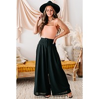 Conference Call High Rise Pleated Wide Leg Pants (Black)