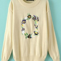 Beige Flowers Embroidery Long Sleeve Sweater