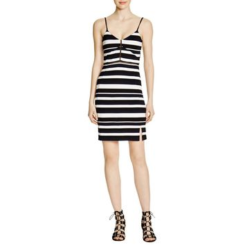 French Connection Womens Striped Mesh Inset Clubwear Dress