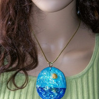 Jewelry supplies, Handmade Hand Painted Pendant Ocean Blue, Yellow Oil