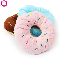 1PC Funny Pet Dog Chew Throw Toys Cute Donuts Puppy Cat Squeaker Squeaky Plush Sound Toys 11cm