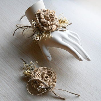 Country Burlap & Wheat Wrist Corsage and/or Boutonniere. Made to Order.