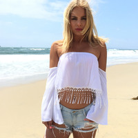 Bischoff Fringe Blouse In White