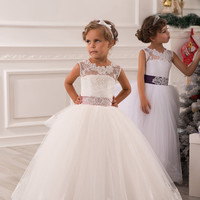 Ivory Flower Girl Dress - Bridesmaid Birthday Wedding Party Holiday Ivory Lace Tulle Flower Girl Dress