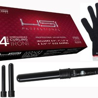 "HSI PROFESSIONAL CURLING IRON SET. 4 BARREL SIZES 3/4"",1"",1.5"" AND 3/4-1"" DUAL VOLTAGE 110-220V PROFESSIONAL SALON MODEL. FREE GLOVE INCLUDED WITH CURLING WAND."