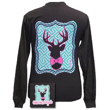 SALE Girlie Girl Originals Collection Preppy Deer Country Chocolate Bright Long Sleeves T Shirt