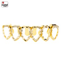 Jewelry Kay style HIP HOP Diamond CUT Grillz  Six Open Face Gold Plated Teeth Bottom S001 6F C4