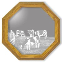 """""""Amazing Grazing"""" Cow Etched Glass Art Mirrors"""