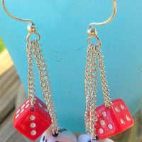 Cute and Kitchy red,white and black dice dangle earrings.