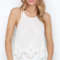 Fresh Gale Ivory Embroidered Tank Top