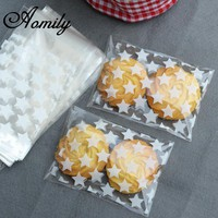 Aomily 100pcs/Set Wedding Candy Gift Plastic Cookie Bags White Star Transparent Christmas Biscuits Baking Packaging Bag