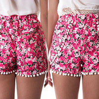 Floral High Waisted Short with Pom Decor