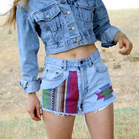 TRIBAL Aztec Upcycled High Waisted Jean Shorts 28 Waist Hot Pants Cutoffs