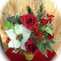 "Christmas Centerpiece in Frosted Glass Vase ""Tis' the Season"",  Table Centerpiece,Christmas Arrangement, Christmas Dinning Table, Winter"