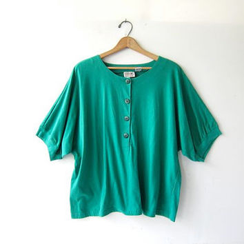 Vintage basic shirt. Oversized tshirt. Slouchy tee shirt. Loose fit button up tee.