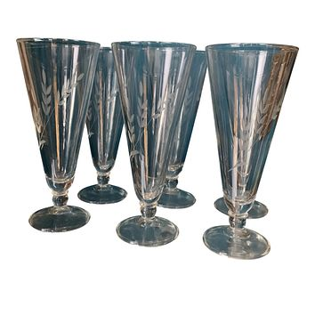Set of Six Handblown Etched Cocktail Glasses