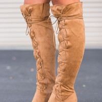 Laced Up Over the Knee Boots in Tan