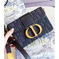 DIOR CD Fashion New More Embroidery Letter Leather Shopping Leisure Shoulder Bag Women