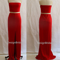 NEW Strapless Party Dress,Stretchy Prom Party Dress,Side Slits Red Formal Dress,Sexy Red Evening Dress Cocktail Dress,Red Party Dresses Long