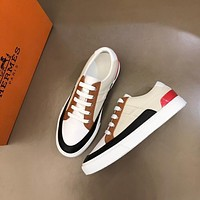 HERMES 2021Men Fashion Boots fashionable Casual leather Breathable Sneakers Running Shoes08140ff