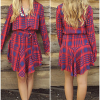Make It Pop Red & Blue Plaid Printed Long Sleeve Tiered Dress With Belt