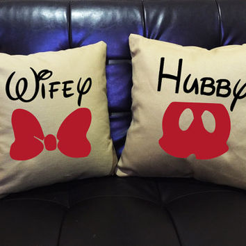Mickey and Minnie couple Throw Pillow cover,Mr and Mrs,Wedding gift,Couples gift,hubby and wifey pillow cover cotton canvas pillow cover set