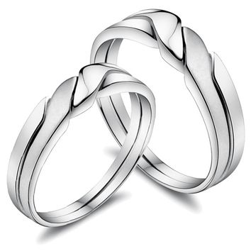 Custom Engravable Sterling Silver Couples Wedding Rings for Two - Gifts for Couples - Christmas Gifts - Occasions Personalized Couples Gifts | His Her Necklaces and Bracelets | Engraved Wedding Rings | Couples Clothing