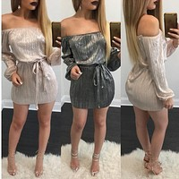 Fashion  Off Shoulder Long Sleeve Solid Color Drawstring Mini Dress