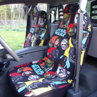 1 Set of Star Wars Cartoon Characters Print Car Seat Covers and 1 piece of Steering Wheel Cover Custom Made.