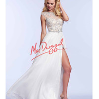 Mac Duggal 82231M Ivory Rhinestone Embellished Flowing Gown 2015 Prom Dresses
