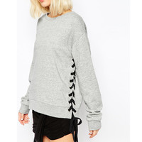 Gray Lace-Up Side Loose Sweatshirt