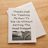 Father's Day Card, Card For Dad, Funny Card, Thank You Dad, Card For Father, Quirky Card, Adult Humor, Son To Dad, Dad's Birthday, Zip up