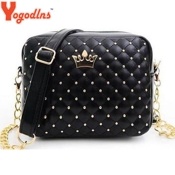 2016 Women's New Rivet Chain Shoulder Bag High Quality 100% Leather