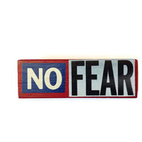 NO FEAR fridge magnet RED upcycled Jenga block Recycled Retro Decor for Home or Office