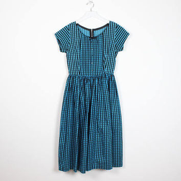 Vintage 50s Dress Teal Blue Black Gingham Check Plaid Day Dress Fit And Flare Tuxedo Pleated 1950s Dress Preppy New Look Betty S M Medium