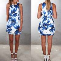 Leave Print Sleevless Halter Neck Bodycon Dress