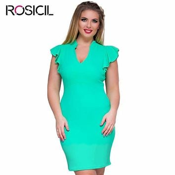 New Arrival Elegant Plus Size Women Office Dresses 4XL Butterfly Sleeve Bodycon Party Dress 6XL Summer Women Casual Pencil Dress