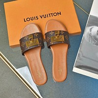 lv popular summer womens flats men slipper sandals shoes 29