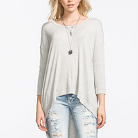 Blu Pepper Knit V-Neck Tee Grey  In Sizes