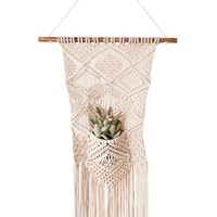 "Macrame Wall Hanging Basket with Pocket Planter - 16"" Long x 26"" Tall"